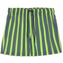 Boys Gray & Yellow Fluor Striped Swim Shorts