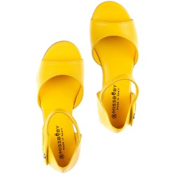 Girls Yellow Leather Amelia Sandals