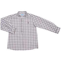Boys Grey Gingham Cotton Shirt
