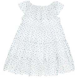 Girls Green & White Cloud Print Dress & Ruffle Collar