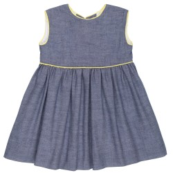 Girls Denim Dress & Yellow Bows Back