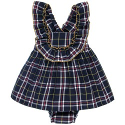 Girls Navy Blue Checked 2 Piece Dungaree Dress Set