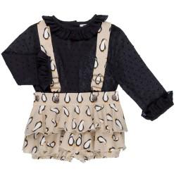 Girls Black Blouse & Beige Penguin Ruffle Dungaree Shorts Set