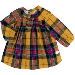 Baby Girls Mustard & Pink Checked Dress