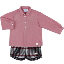 Boys Red Shirt & Navy Blue & Red Checked Shorts Set