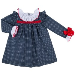 Girls Blue & White Polka Dot Dress