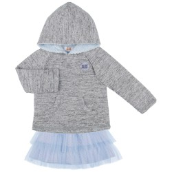 Girls Grey Sweatshirt & Blue Ruffle Tulle Skirt Set