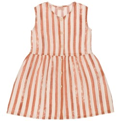 Girls Ivory & Red Russet Striped Cotton Dress