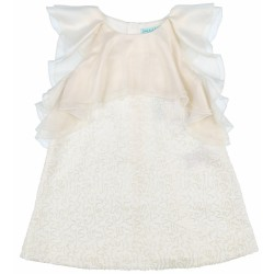 Girls Ivory Sequin Shift Dress with Chiffon Collar