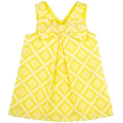 Girls Yellow & White Diamond Print Dress