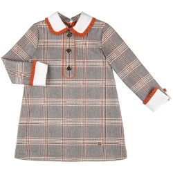 Girls Orange & Grey Glen Plain Dress