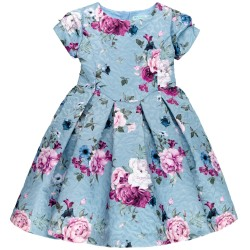 Girls Light Blue Floral Print Jacquard Dress
