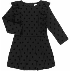 Girls Black Knitted Polka Dot Playsuit & Ruffles