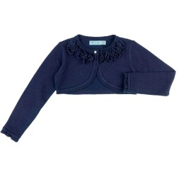 Girls Navy Blue Knitted Bolero Cardigan