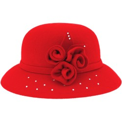 Girls Red Felt Hat with Flowers & Glitter