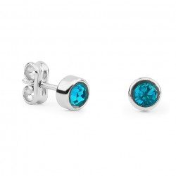 Silver & Swarovski Blue Crystal Round Earrings
