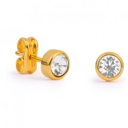 Gold & Swarovski Crystal Round Earrings