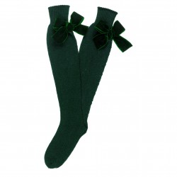Dark Green Fine Knit Long Socks with Velvet Bow