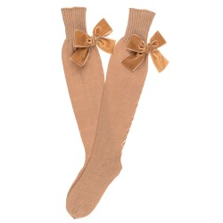 Beige Fine Knitted Long Socks with Velvet Bow