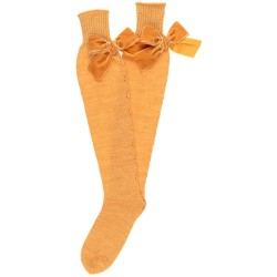 Mustard Fine Knitted Long Socks with Velvet Bow