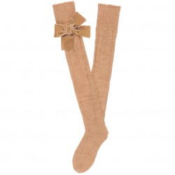 Girls Beige Ribbed Knit Long Socks & Velvet Bows