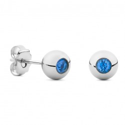 Silver Sphere & Swarovski Blue Crystal Earrings
