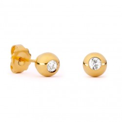 Gold Sphere & Swarovski Crystal Earrings