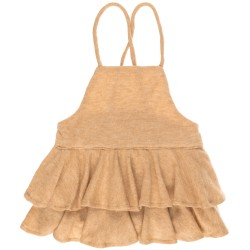 Girls Mustard Jersey Ruffle Dungaree Shorts