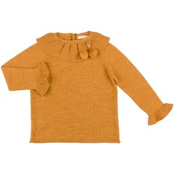Girls Ochre Knitted Sweater with Ruffle Collar