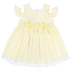 Girls Yellow & White Checked Off The Shoulder Dress