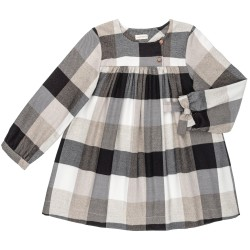 Girls Ivory & Black Checked Dress