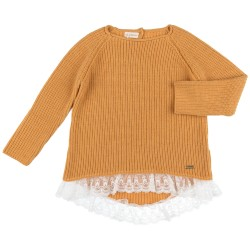 Girls Mustard Knitted Sweater with white Lace