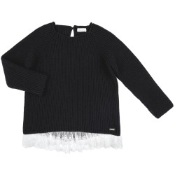 Girls Black Knitted Sweater with Ivory Lace