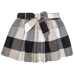 Girls Ivory & Black Checked Skirt