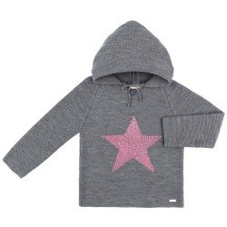 Girls Gray Knitted Hooded Sweater with Fuchsia Star