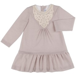 Girls Beige & Ivory Lace Ruffle Collar Jersey Dress