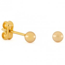 Gold Small Round Earrings 4mm