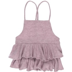 Girls Dusky Pink Jersey Ruffle Dungaree Shorts