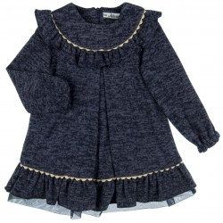 Girls Navy Blue Knitted Dress with Ruffle Collar