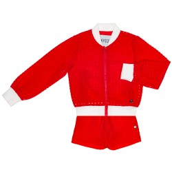 Girls Red Bomber Jacket & Shorts Set