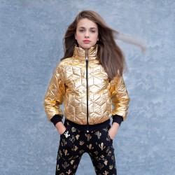 Alberttina Girls Gold Quilted Bomber Jacket