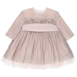 Girls Pink & Silver Flared 2 Piece Dress Set