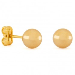 Gold Small Round Earrings 7mm