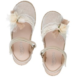 Girls Ivory Espadrille Sandals & Flower