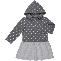Girls Grey Star Jersey Dress with Hood