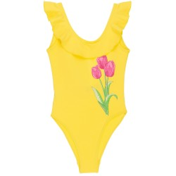 Girls Yellow Tulip & Ruffle Swimsuit