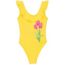 Girls Yellow Tulip & Ruffle Swimsuit