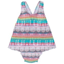 Baby Girls Tie-dye Print Swimsuit with Ruffles