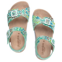 Girls Aqua Green Leather & Suede Sandals with Buckles