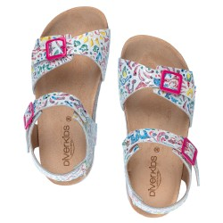 Girls Pink Leather & Suede Sandals with Buckles